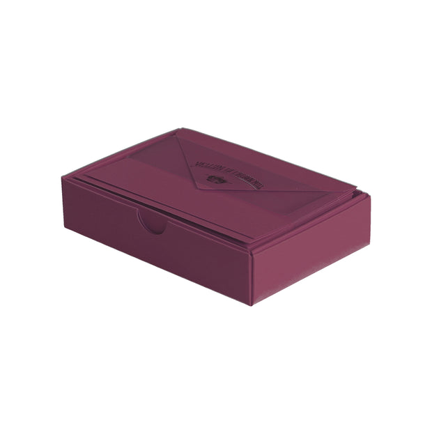 "Vellum Stationery Set - Smooth Finish, Flat Card - 3 1/2"" x 5 1/2"" - Burgundy"