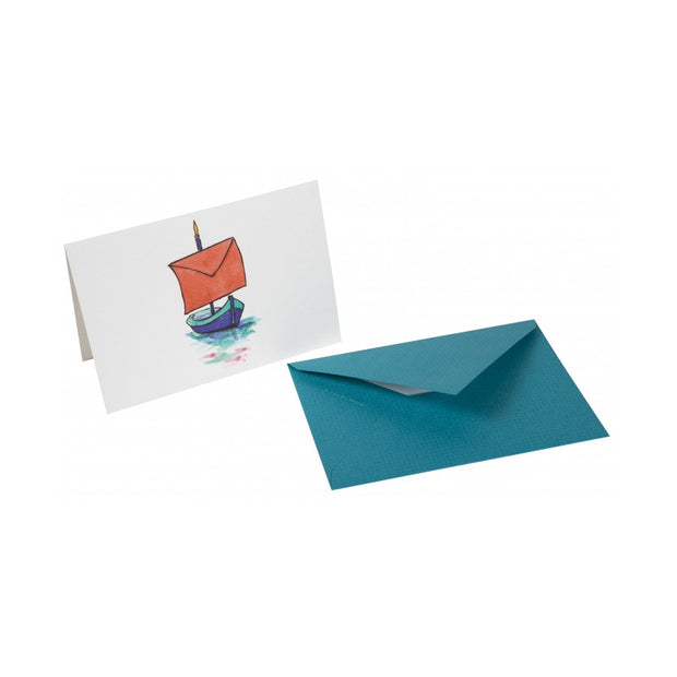 Straight-Edge Fold Over Card - Boat