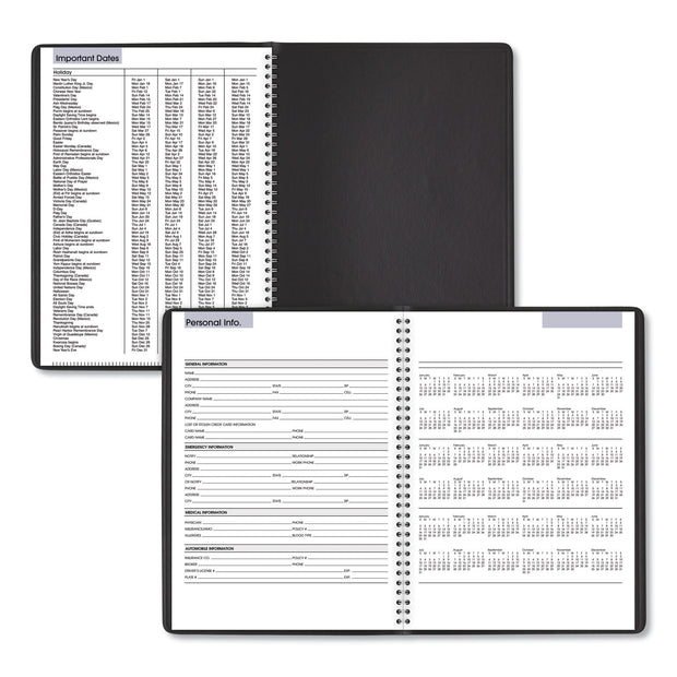 Weekly Appointment Book, 11 x 8, Black