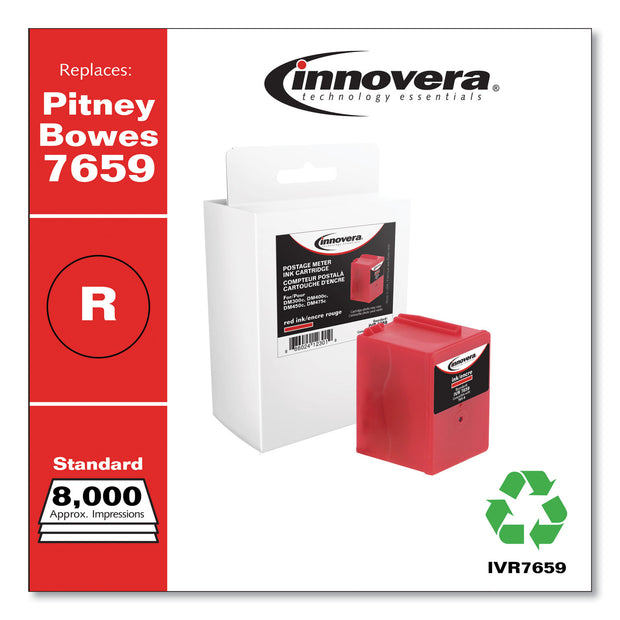 Compatible Red Postage Meter Ink, Replacement for Pitney Bowes 765-9 (7659), 8,000 Page-Yield