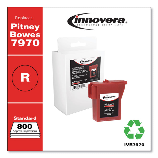 Compatible Red Postage Meter Ink, Replacement for Pitney Bowes 797-0 (7970), 800 Page-Yield
