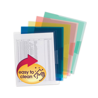 ORGANIZED UP TRANSLUCENT POLY PROJECT JACKET, LETTER SIZE, ASSORTED COLORS, 5/PACK