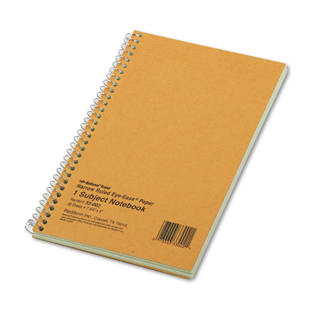 SINGLE-SUBJECT WIREBOUND NOTEBOOKS, 1 SUBJECT, NARROW RULE, BROWN COVER, 7.75 X 5, 80 SHEETS