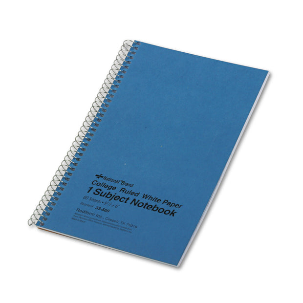 SINGLE-SUBJECT WIREBOUND NOTEBOOKS, 1 SUBJECT, MEDIUM/COLLEGE RULE, BLUE COVER, 9.5 X 6, 80 SHEETS