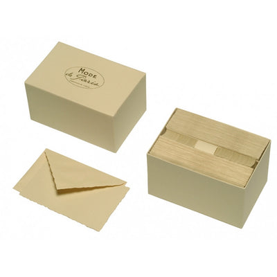 "G. Lalo Deckle-Edged Mode de Paris Stationery - 3 3/4"" x 6"" - Champagne"