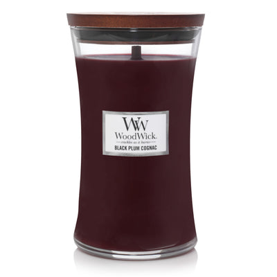 WoodWick Large Hourglass Candle - Black Plum Cognac