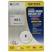 Clip Style Name Badge Holder Kit Sealed Holders with Inserts, 4 x 3, 50/BX