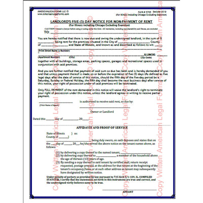 Landlord's 5 Day Notice for Non-Payment of Rent