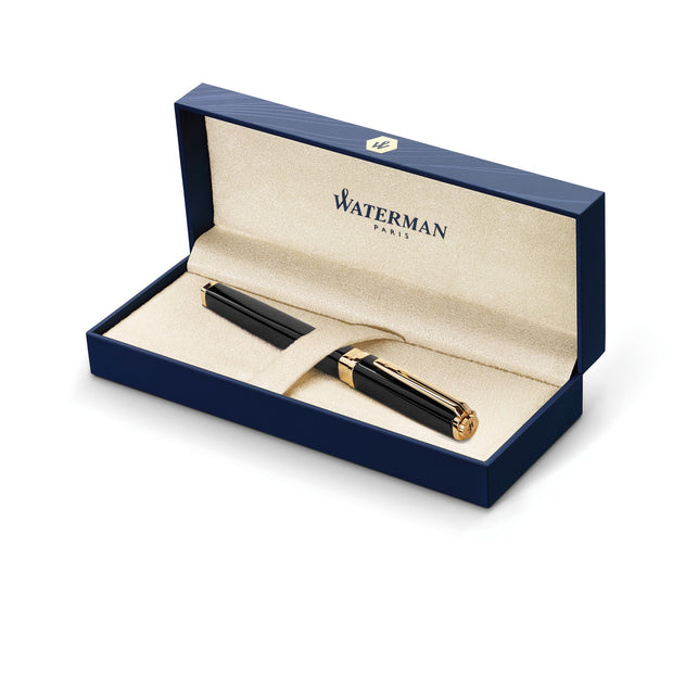 Waterman Exception Slim Rollerball Pen - Black w/ Gold Trim