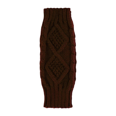 Britt's Knits Wrist Warmers - Brown Cable
