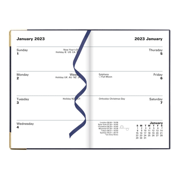 "Classic Week to View Planner with Gold Corners, Blue, 4 1/4"" x 2 3/4"""