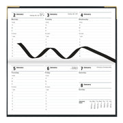 "Classic Week to View Planner with Gold Corners, Horizontal, Black, 6 5/8"" x 3 1/4"""