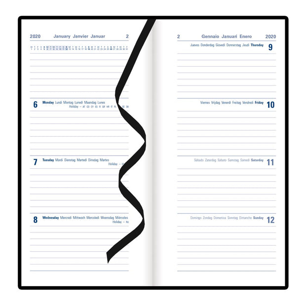 Verona Week to View Planner, Black, 6.625 x 6.25 inches