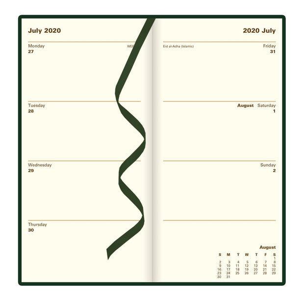 Signature - Week to View Planner, Bonded, Vertical, Green, 6.5 x 3.25 inches