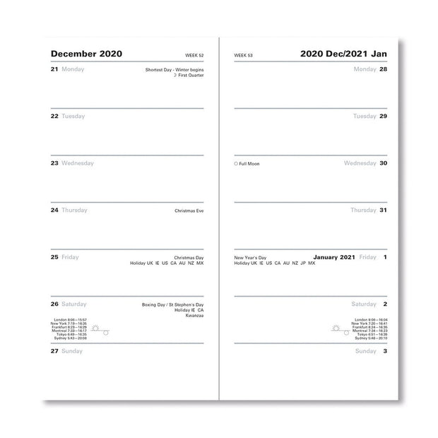Classic - Two Weeks to View Planner with Gold Corners, Vertical, Black, 6.62 x 3.25 inches