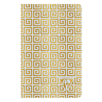 Clairefontaine Neo Deco Sewn Spine Notebook - Ivory Paper - Lined 48 Sheets - 6 x 8 1/4 - Ice Blue