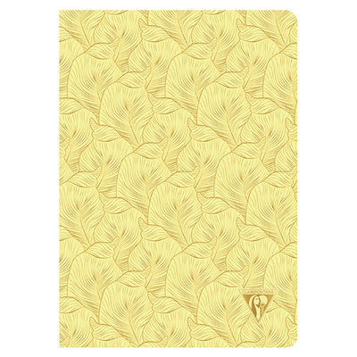 Clairefontaine Neo Deco Sewn Spine Notebook - Ivory Paper - Lined 48 Sheets - 6 x 8 1/4 - Sulfer Yellow