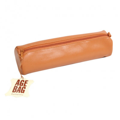 Clairefontaine Leather Round Pencil Case - 8 1/2 x Ø 2 1/2 - Tan