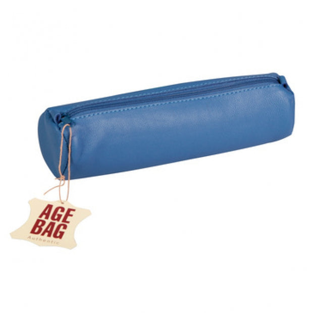 Clairefontaine Leather Round Pencil Case - 8 1/2 x Ø 2 1/2 - Blue