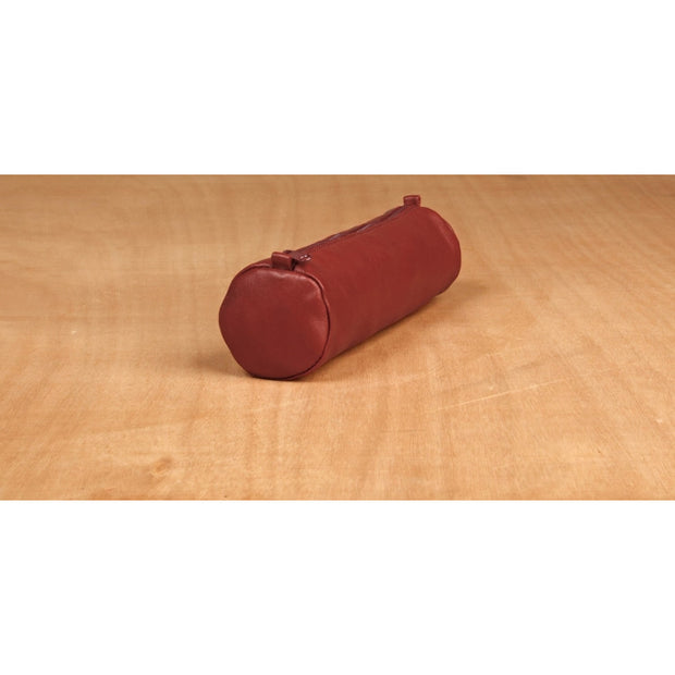 Clairefontaine Leather Round Pencil Case - 8 1/2 x Ø 2 1/2 - Red