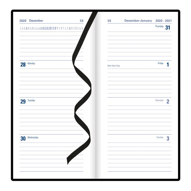 "Milano Week to View Planner, Black, 6 5/8"" x 3 1/4"""
