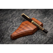 Galen Leather Nib Rest Wooden Pen Stand - Mahogany