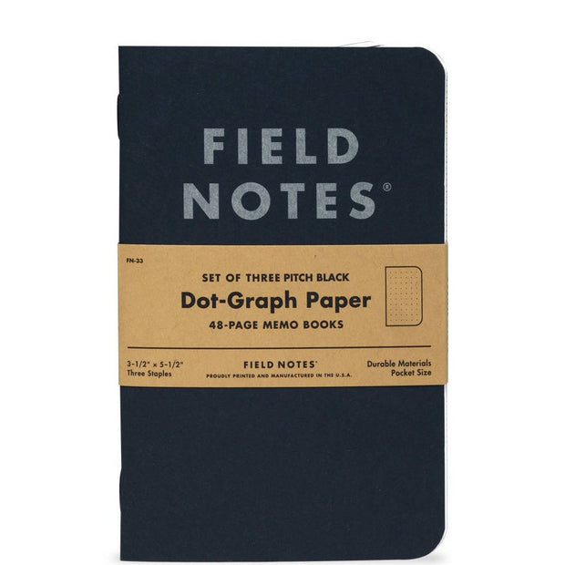 "Field Notes Pitch Black Notebook, Dot Graph, 2-Pack, 4 3/4"" x 7 1/2"""