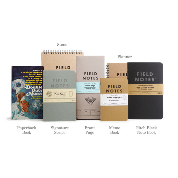 "Field Notes Pitch Black Memo Book, Dot, 3-Pack, 3-1/2"" x 5-1/2"""
