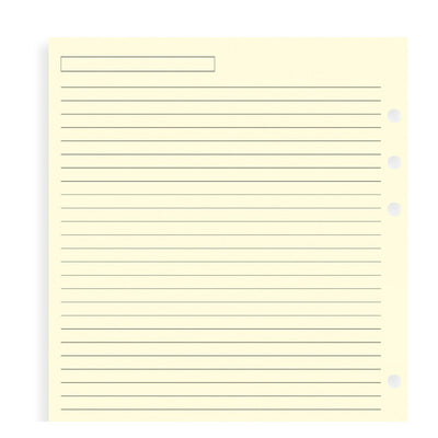 Filofax Ruled Cotton Cream Paper Refill - A5