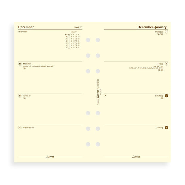 Filofax Week on Two Page Cotton Cream Refill - Personal