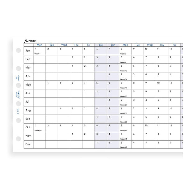 Filofax Horizontal Yearly Planner Refill - Pocket