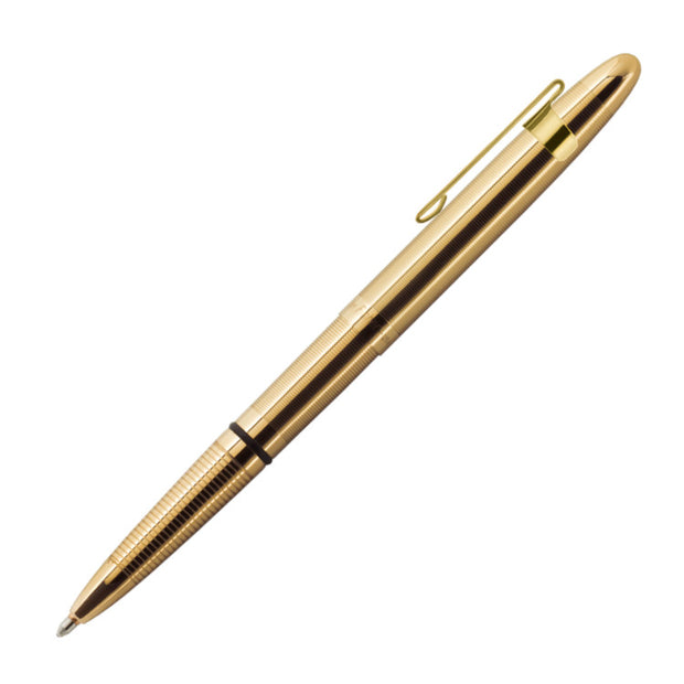 Fisher Space Pen Classic Bullet Pen in Lacquered Brass with Gold Plated Clip