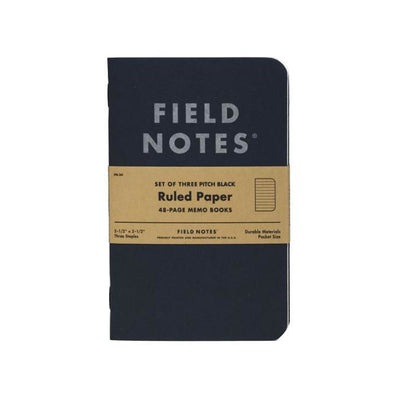 "Field Notes Pitch Black Memo Book, Ruled, 3-Pack, 3-1/2"" x 5-1/2"""