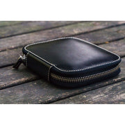 Galen Leather 10 Pen Zipper Case - Black