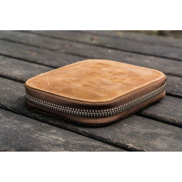 Galen Leather 10 Pen Zipper Case - Crazy Horse Brown