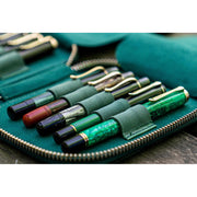 Galen Leather 10 Pen Zipper Case - Forest Green