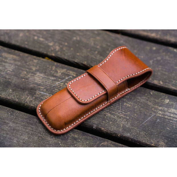 Galen Leather Two Pen Flap Case - Brown