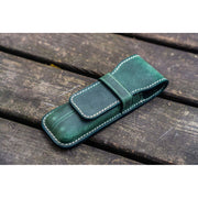 Galen Leather Two Pen Flap Case - Forest Green