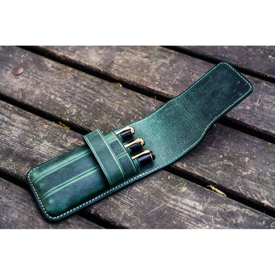 Galen Leather Three Pen Flap Case - Forest Green
