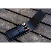 Galen Leather 3 Pen Flap Case - Black