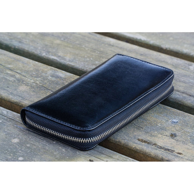 Galen Leather 3 Pen Zipper Case - Black