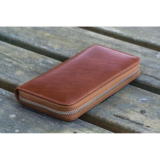 Galen Leather 3 Pen Zipper Case - Brown