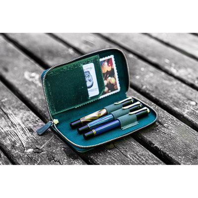 Galen Leather 3 Pen Zipper Case - Forest Green