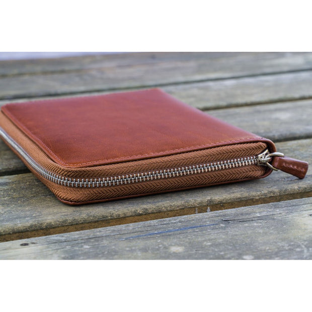 Galen Leather 5 Pen Zipper Case - Chocolate Brown