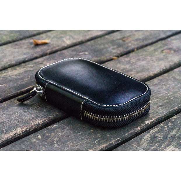 Galen Leather 6 Pen Zipper Case - Black
