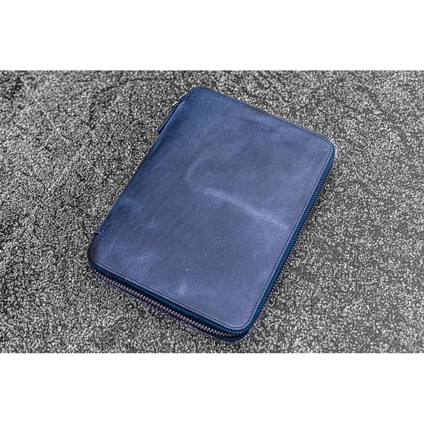 Galen Leather Zipped A5 Notebook Folio - Crazy Horse Navy