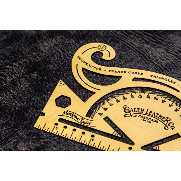 Galen Leather Vintage Inspired Brass Combine Tool - Protractor