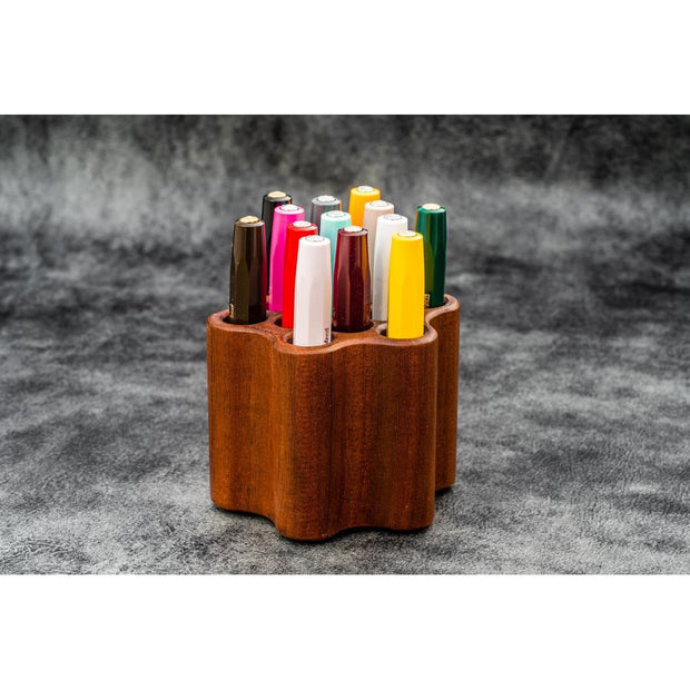 Galen Leather Toolcomb Wooden Pen and Brush Stand Holder