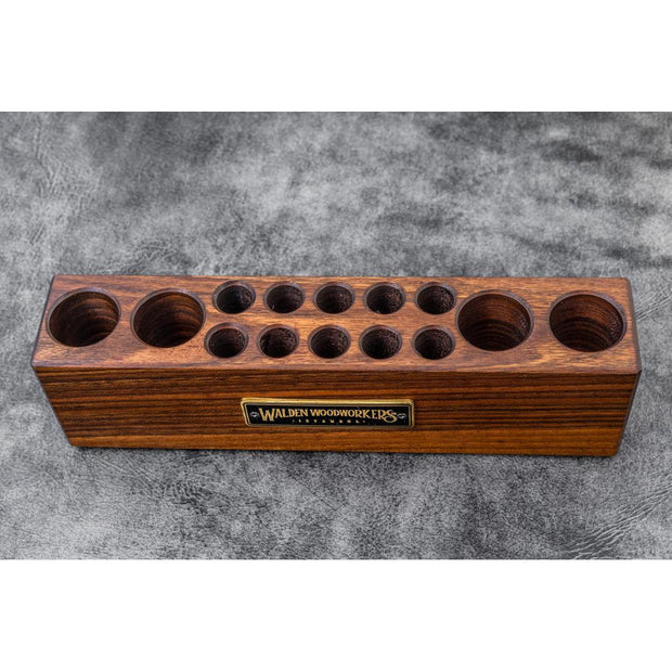 Galen Leather Wooden Desk Organizer - Walnut