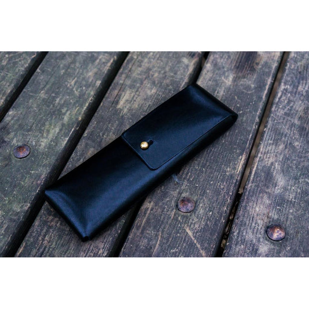 Galen Leather Pencil Case - Black